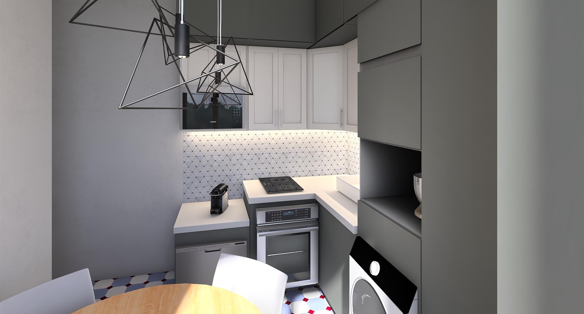 Studio - Cuisine - implantation L - Grise - Cabochons